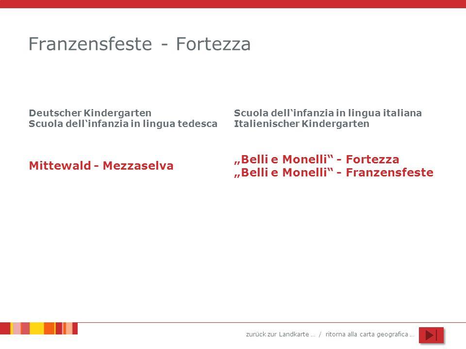 zurück zur Landkarte … / ritorna alla carta geografica … Franzensfeste - Fortezza Deutscher Kindergarten Scuola dellinfanzia in lingua tedesca Scuola