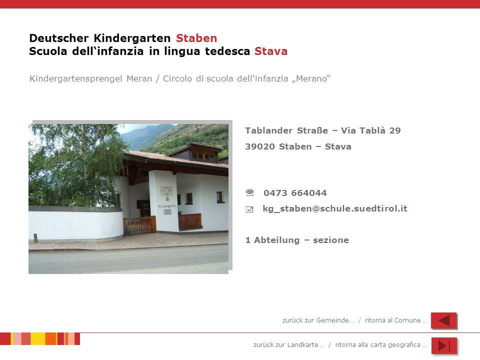 zurück zur Landkarte … / ritorna alla carta geografica … Deutscher Kindergarten Staben Scuola dellinfanzia in lingua tedesca Stava Tablander Straße –