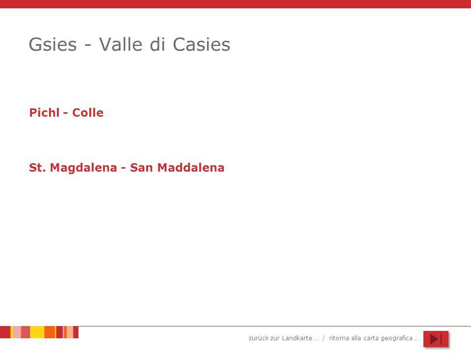 zurück zur Landkarte … / ritorna alla carta geografica … Gsies - Valle di Casies Pichl - Colle St. Magdalena - San Maddalena