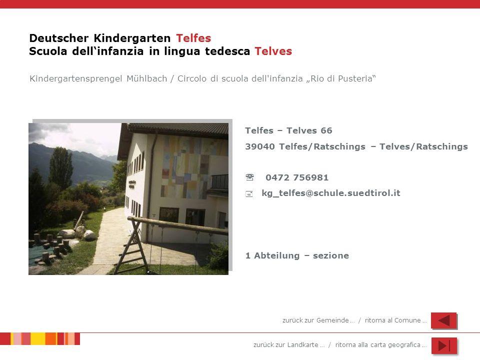 zurück zur Landkarte … / ritorna alla carta geografica … Deutscher Kindergarten Telfes Scuola dellinfanzia in lingua tedesca Telves Telfes – Telves 66