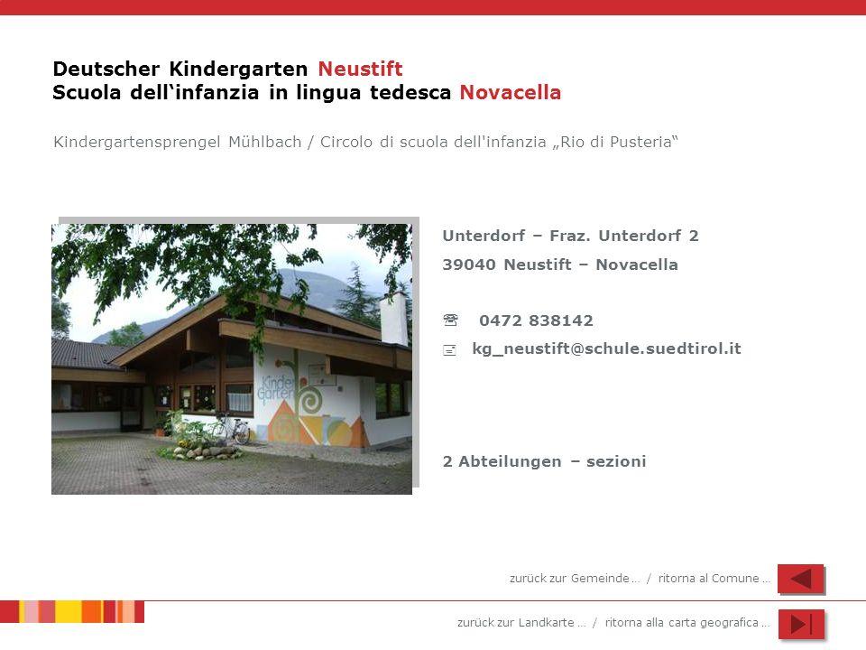 zurück zur Landkarte … / ritorna alla carta geografica … Deutscher Kindergarten Neustift Scuola dellinfanzia in lingua tedesca Novacella Unterdorf – F