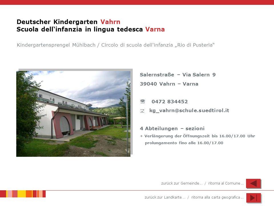 zurück zur Landkarte … / ritorna alla carta geografica … Deutscher Kindergarten Vahrn Scuola dellinfanzia in lingua tedesca Varna Salernstraße – Via S