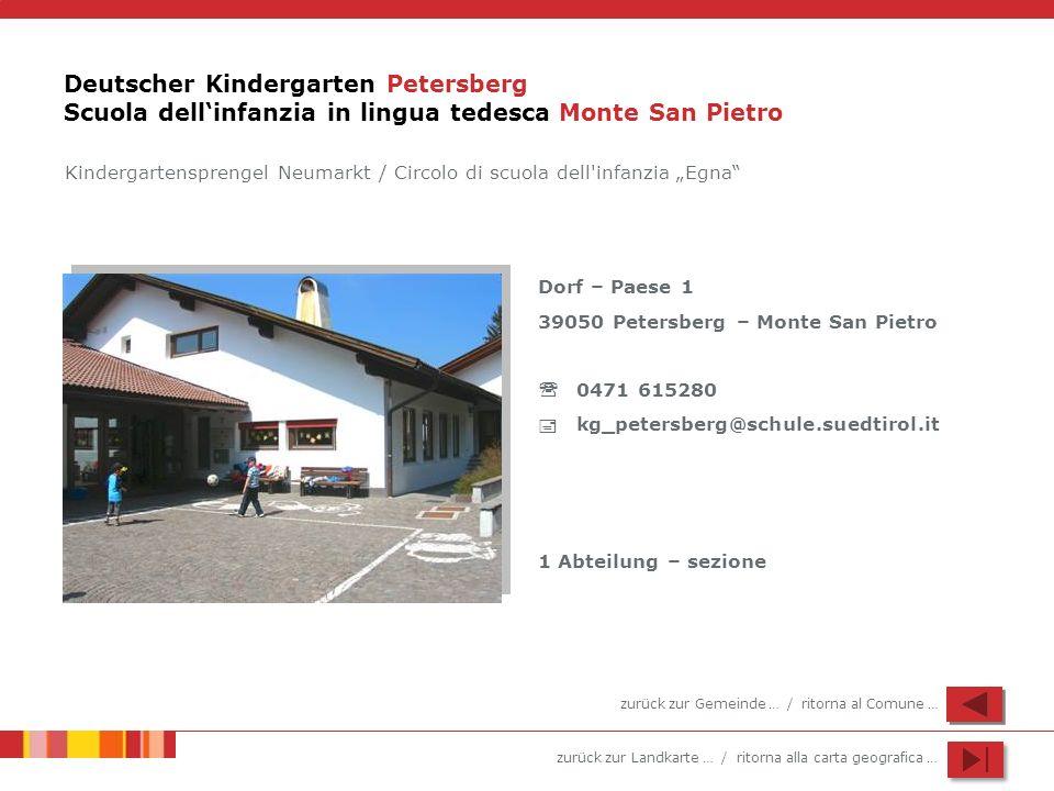 zurück zur Landkarte … / ritorna alla carta geografica … Deutscher Kindergarten Petersberg Scuola dellinfanzia in lingua tedesca Monte San Pietro Dorf