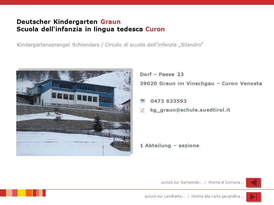 zurück zur Landkarte … / ritorna alla carta geografica … Deutscher Kindergarten Graun Scuola dellinfanzia in lingua tedesca Curon Dorf – Paese 23 3902