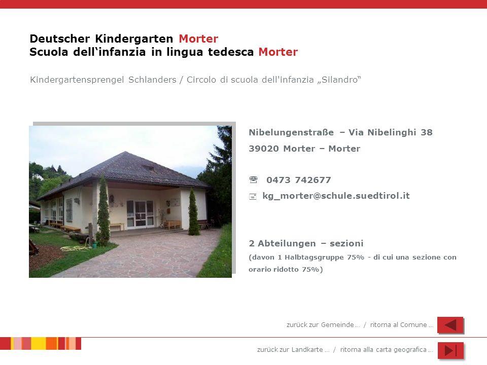 zurück zur Landkarte … / ritorna alla carta geografica … Deutscher Kindergarten Morter Scuola dellinfanzia in lingua tedesca Morter Nibelungenstraße –