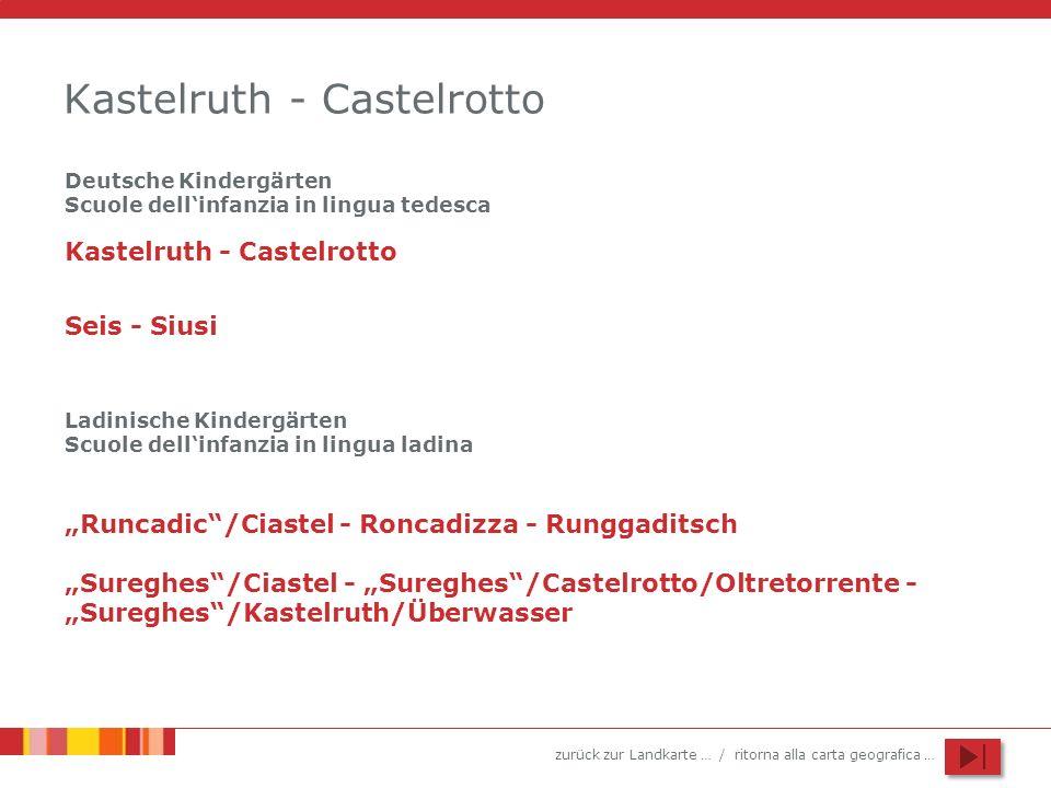 zurück zur Landkarte … / ritorna alla carta geografica … Kastelruth - Castelrotto Seis - Siusi Runcadic/Ciastel - Roncadizza - Runggaditsch Sureghes/C