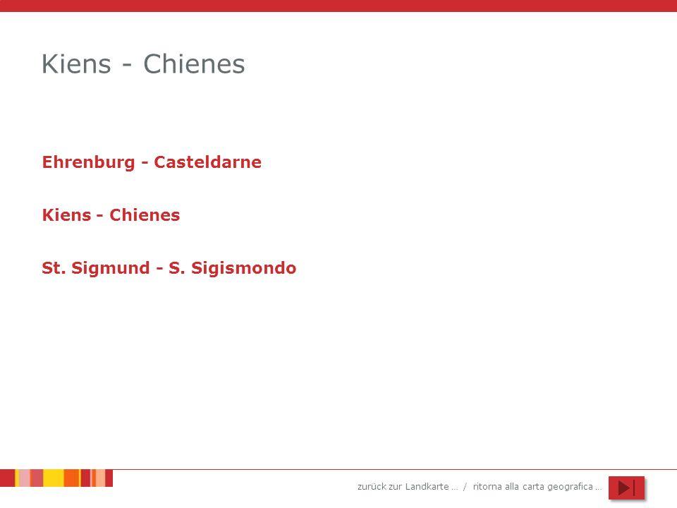 zurück zur Landkarte … / ritorna alla carta geografica … Kiens - Chienes Ehrenburg - Casteldarne Kiens - Chienes St. Sigmund - S. Sigismondo