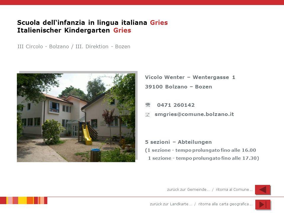 zurück zur Landkarte … / ritorna alla carta geografica … Scuola dellinfanzia in lingua italiana Gries Italienischer Kindergarten Gries Vicolo Wenter –