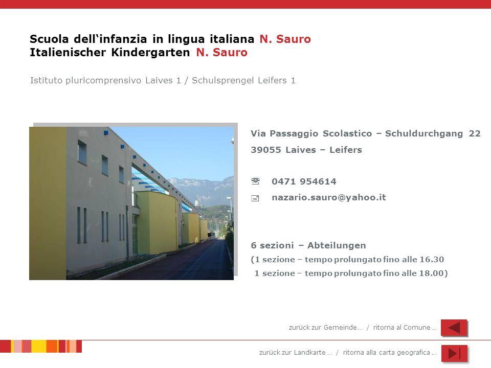 zurück zur Landkarte … / ritorna alla carta geografica … Scuola dellinfanzia in lingua italiana N. Sauro Italienischer Kindergarten N. Sauro Via Passa