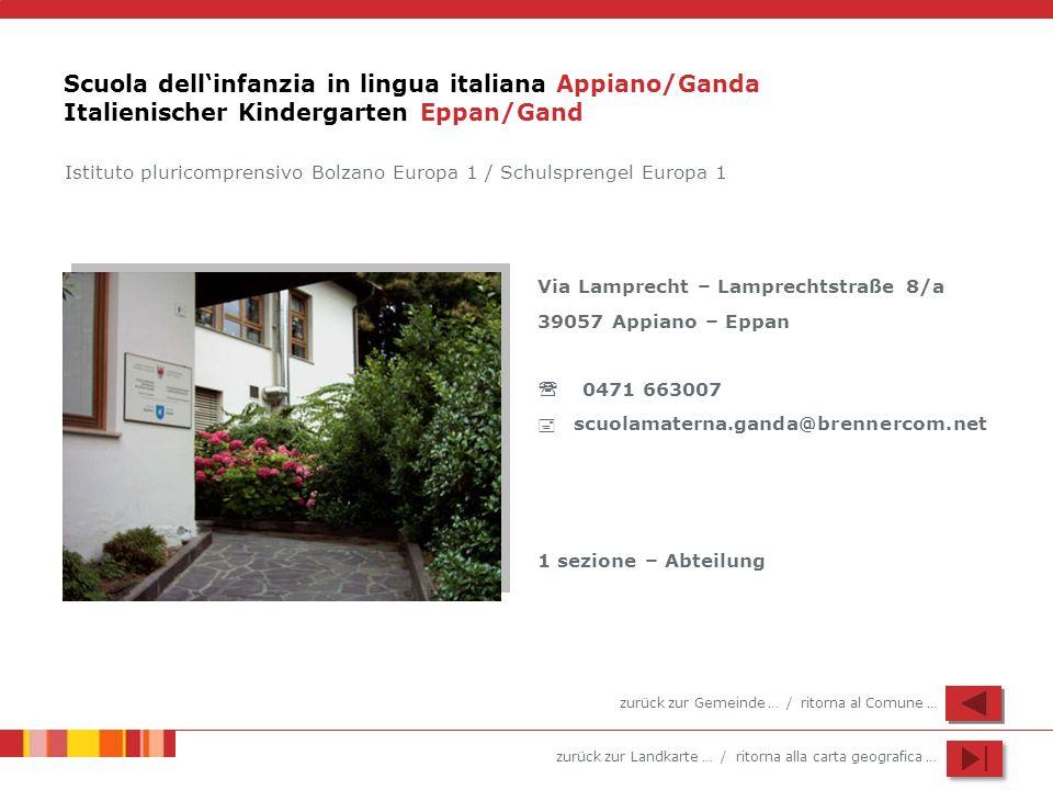 zurück zur Landkarte … / ritorna alla carta geografica … Scuola dellinfanzia in lingua italiana Appiano/Ganda Italienischer Kindergarten Eppan/Gand Vi