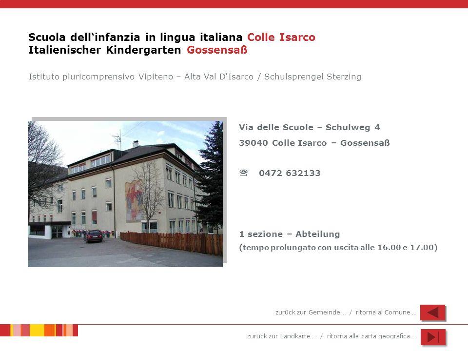 zurück zur Landkarte … / ritorna alla carta geografica … Scuola dellinfanzia in lingua italiana Colle Isarco Italienischer Kindergarten Gossensaß Via