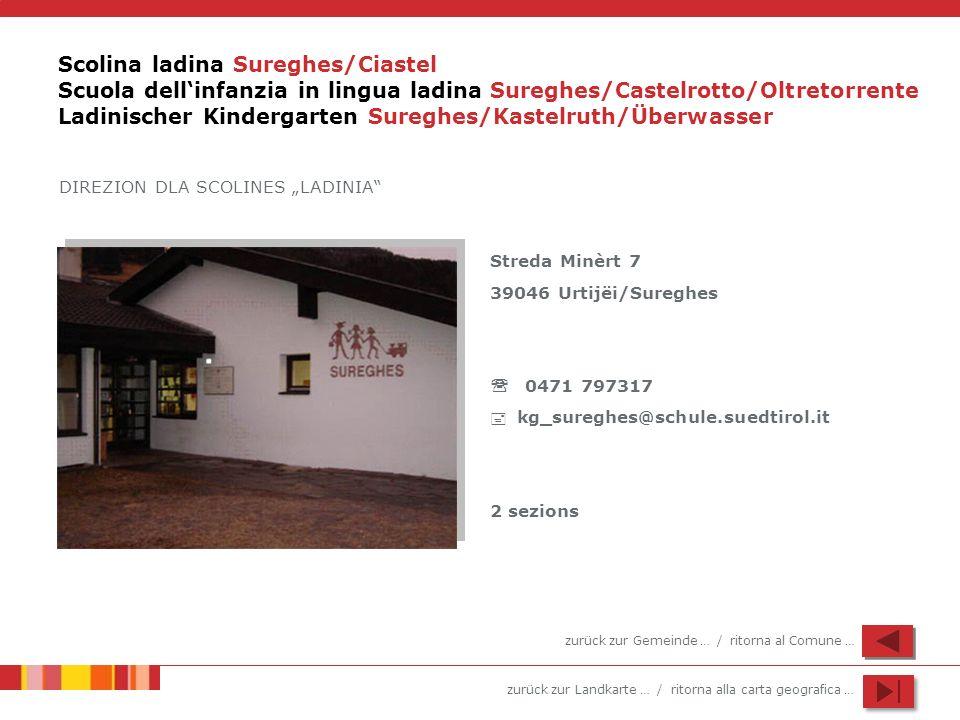 zurück zur Landkarte … / ritorna alla carta geografica … Scolina ladina Sureghes/Ciastel Scuola dellinfanzia in lingua ladina Sureghes/Castelrotto/Olt