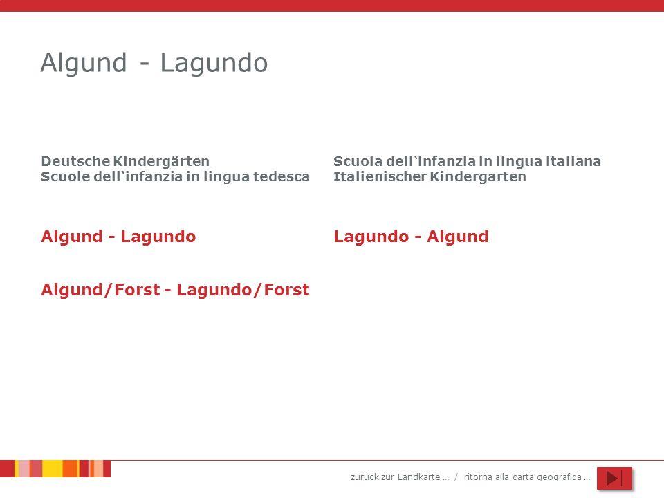 zurück zur Landkarte … / ritorna alla carta geografica … Algund - Lagundo Algund/Forst - Lagundo/Forst Scuola dellinfanzia in lingua italiana Italieni