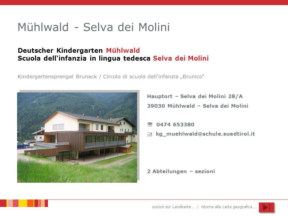 zurück zur Landkarte … / ritorna alla carta geografica … Mühlwald - Selva dei Molini Hauptort – Selva dei Molini 28/A 39030 Mühlwald – Selva dei Molin