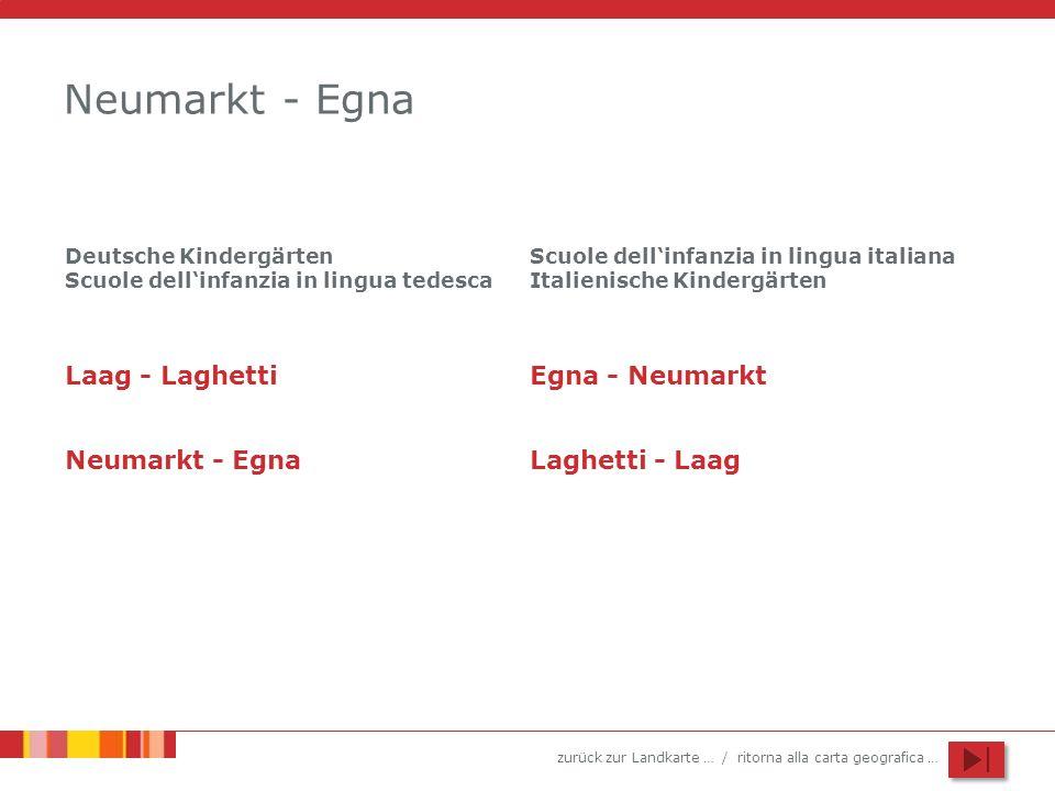 zurück zur Landkarte … / ritorna alla carta geografica … Neumarkt - Egna Laag - Laghetti Neumarkt - Egna Deutsche Kindergärten Scuole dellinfanzia in