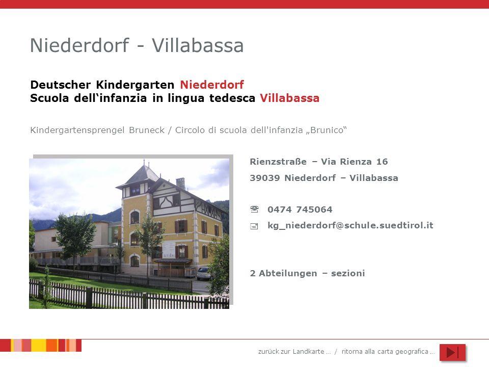 zurück zur Landkarte … / ritorna alla carta geografica … Niederdorf - Villabassa Rienzstraße – Via Rienza 16 39039 Niederdorf – Villabassa 0474 745064