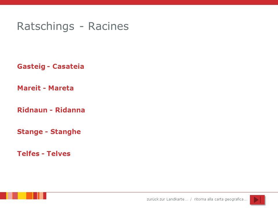 zurück zur Landkarte … / ritorna alla carta geografica … Ratschings - Racines Gasteig - Casateia Mareit - Mareta Ridnaun - Ridanna Stange - Stanghe Te