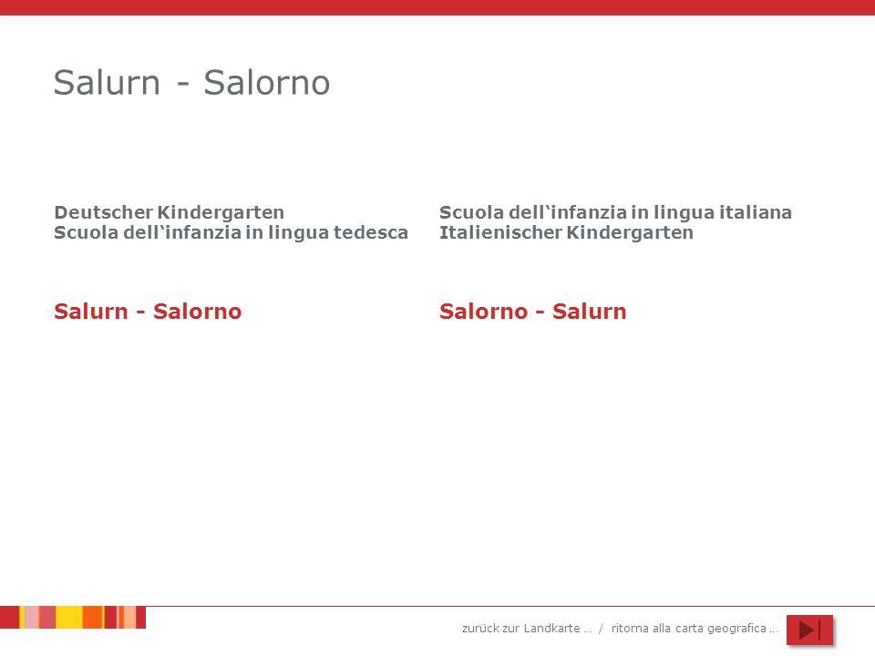 zurück zur Landkarte … / ritorna alla carta geografica … Salurn - Salorno Deutscher Kindergarten Scuola dellinfanzia in lingua tedesca Scuola dellinfanzia in lingua italiana Italienischer Kindergarten Salurn - SalornoSalorno - Salurn