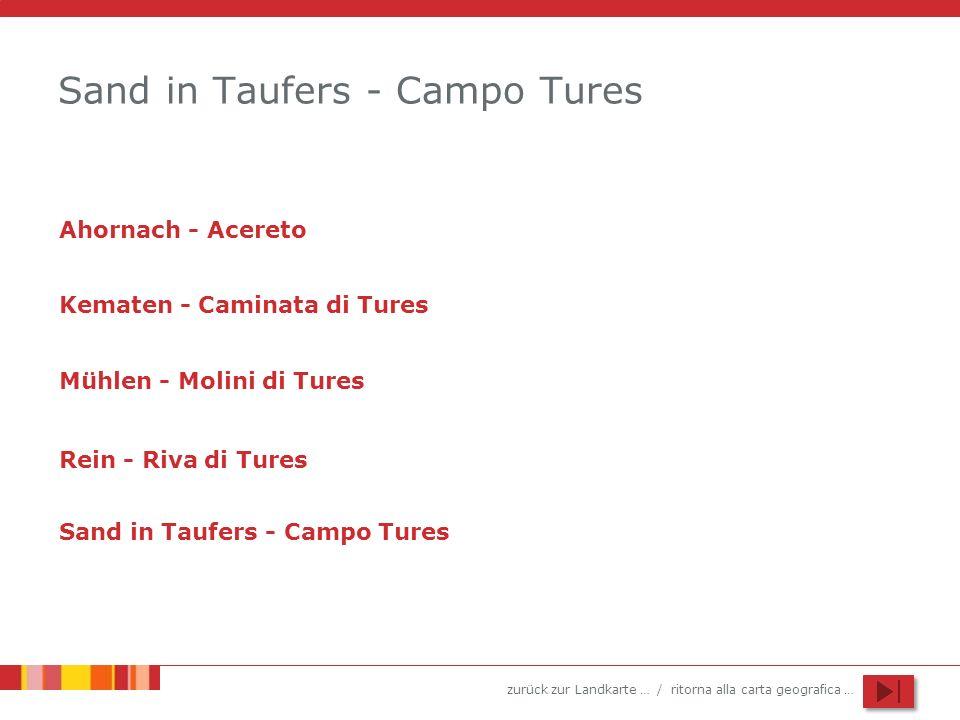 zurück zur Landkarte … / ritorna alla carta geografica … Sand in Taufers - Campo Tures Ahornach - Acereto Kematen - Caminata di Tures Mühlen - Molini di Tures Rein - Riva di Tures