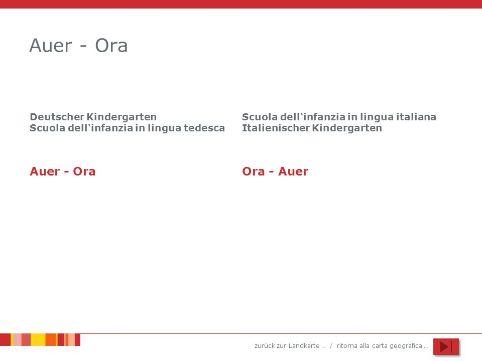 zurück zur Landkarte … / ritorna alla carta geografica … Deutscher Kindergarten Auer Scuola dellinfanzia in lingua tedesca Ora Hohlweg – Via Stretta 6 39040 Auer – Ora 0471 810200 kg_auer@schule.suedtirol.it 4 Abteilungen – sezioni + Verlängerung der Öffnungszeit bis 18.00 Uhr prolungamento fino alle 18.00 Kindergartensprengel Neumarkt / Circolo di scuola dell infanzia Egna zurück zur Gemeinde … / ritorna al Comune …