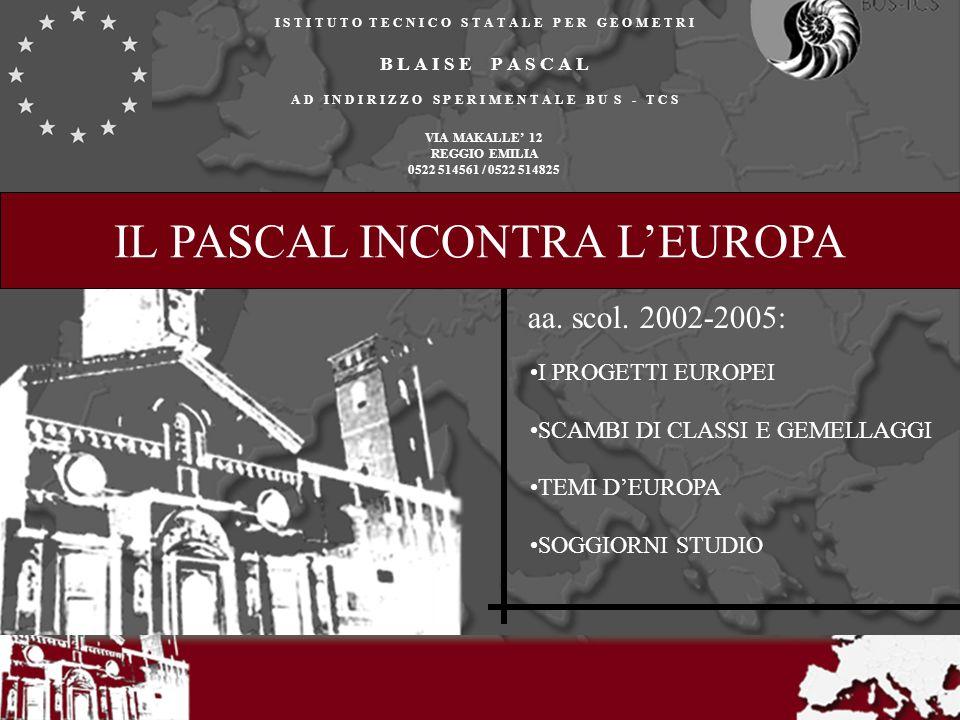 IL PASCAL INCONTRA LEUROPA I progetti europei: Leonardo Comenius del Linguistico Comenius dei GBC Scambi di classi/gemellaggi: Tolosa (Francia) Olomouc (Rep.