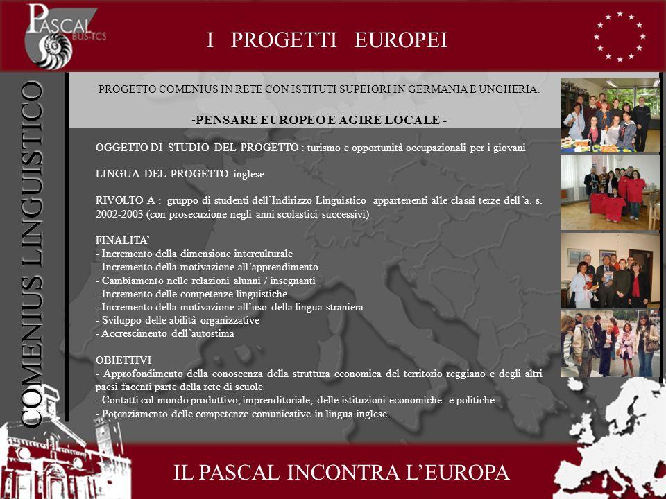 COMENIUS LINGUISTICO I PROGETTI EUROPEI PROGETTO COMENIUS IN RETE CON ISTITUTI SUPEIORI IN GERMANIA E UNGHERIA.