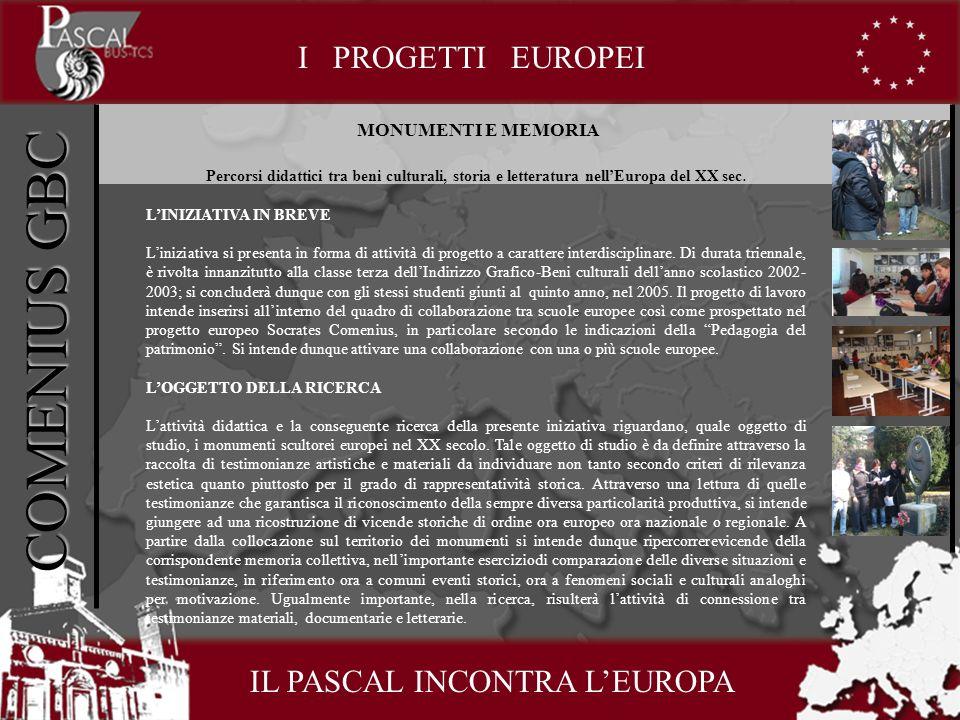COMENIUS GBC I PROGETTI EUROPEI MONUMENTI E MEMORIA Percorsi didattici tra beni culturali, storia e letteratura nellEuropa del XX sec.