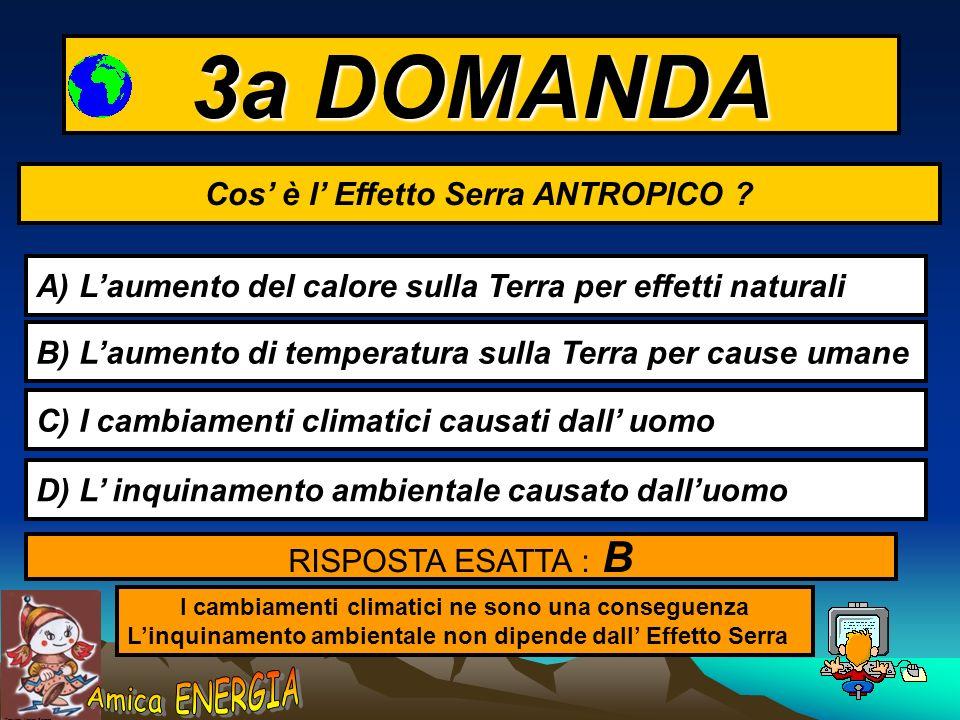 Copyright: Monica Borrego 3a DOMANDA Cos è l Effetto Serra ANTROPICO .