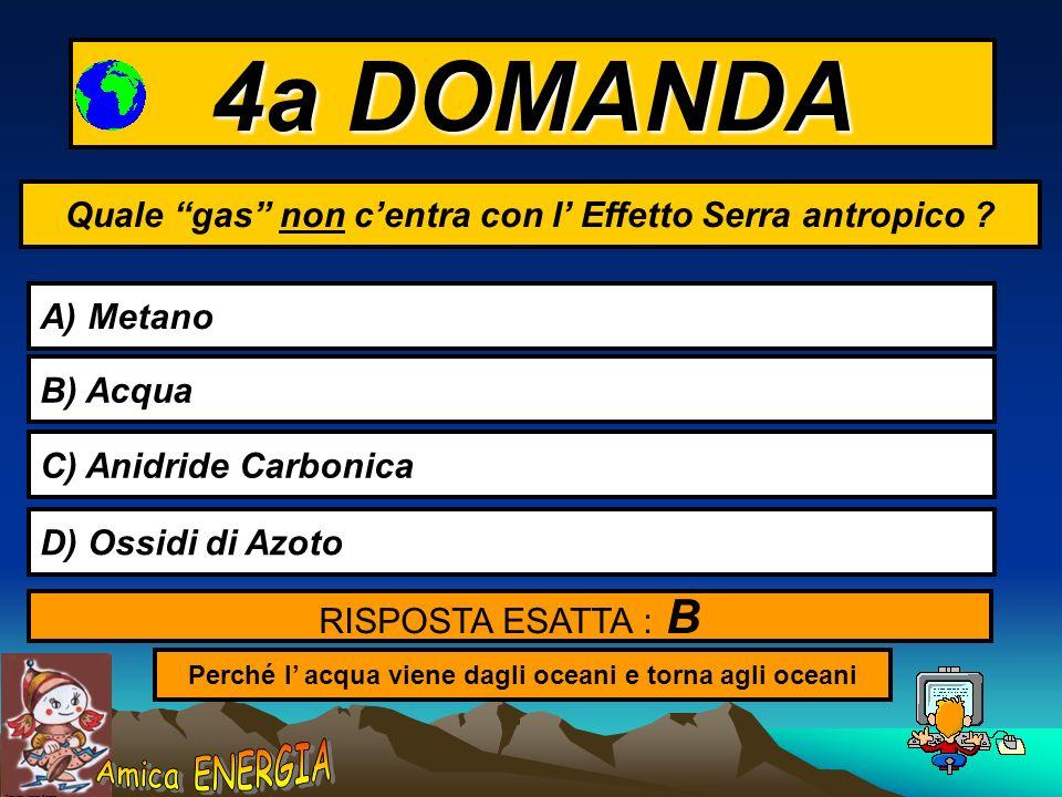 Copyright: Monica Borrego 3a DOMANDA Cos è l Effetto Serra ANTROPICO ? A) Laumento del calore sulla Terra per effetti naturali B) Laumento di temperat
