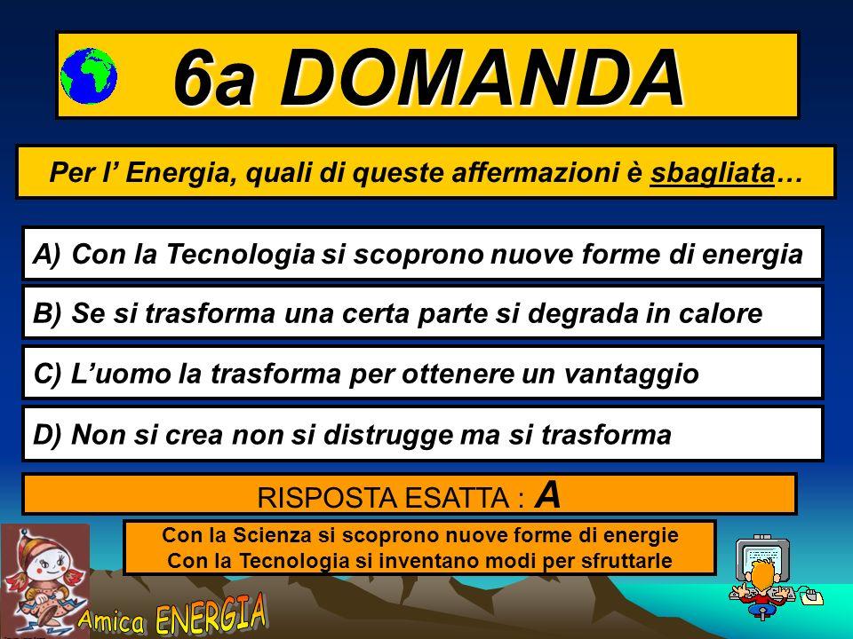 Copyright: Monica Borrego 5a DOMANDA Si potrebbe conservare a lungo L ENERGIA elettrica ? A) Si - usando le BATTERIE B) SI - usandola per produrre IDR