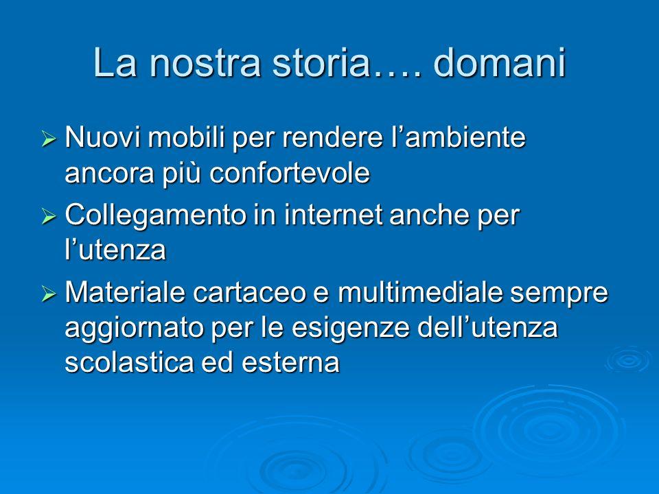 La nostra storia…. domani Nuovi mobili per rendere lambiente ancora più confortevole Nuovi mobili per rendere lambiente ancora più confortevole Colleg