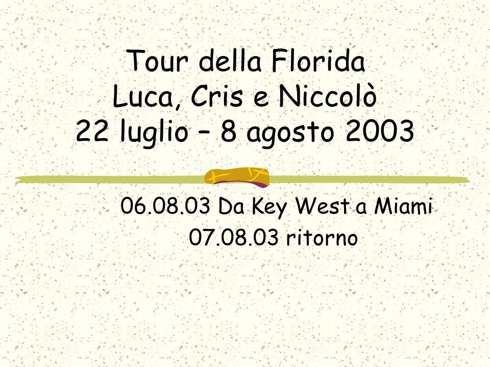 Tour della Florida Luca, Cris e Niccolò 22 luglio – 8 agosto 2003 06.08.03 Da Key West a Miami 07.08.03 ritorno