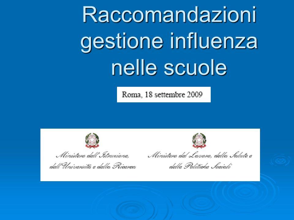 Raccomandazioni gestione influenza nelle scuole Treviso, 8 giugno 2006