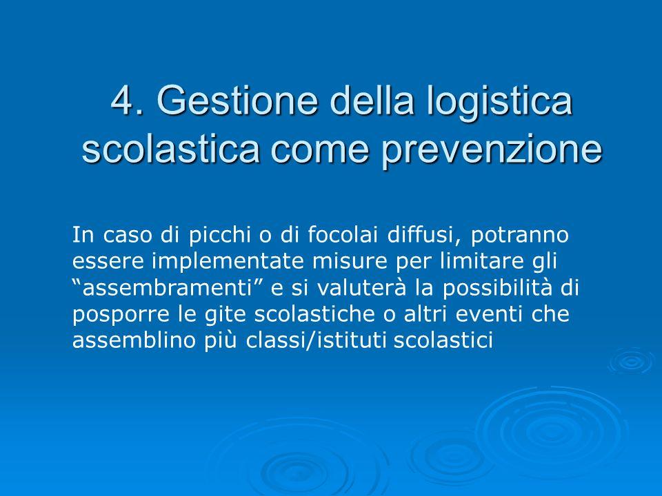 4. Gestione della logistica scolastica come prevenzione In caso di picchi o di focolai diffusi, potranno essere implementate misure per limitare gli a