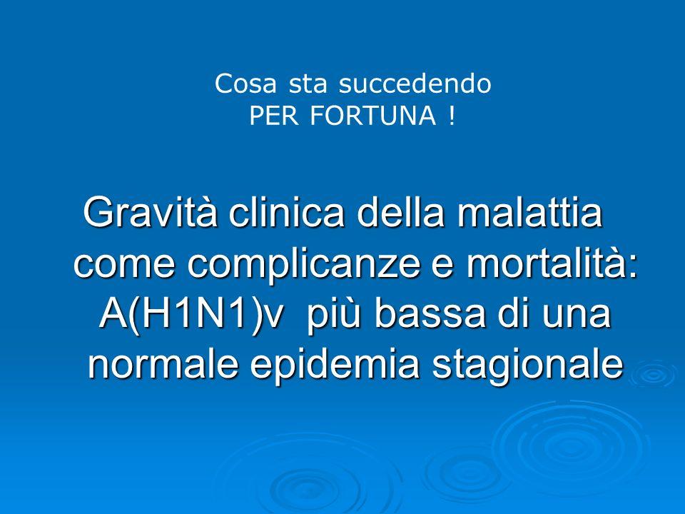 Cosa sta succedendo PER FORTUNA ! Gravità clinica della malattia come complicanze e mortalità: A(H1N1)v più bassa di una normale epidemia stagionale
