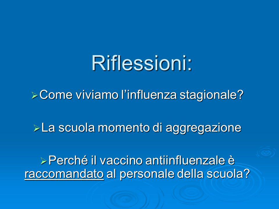 Riflessioni: Come viviamo linfluenza stagionale? Come viviamo linfluenza stagionale? La scuola momento di aggregazione La scuola momento di aggregazio