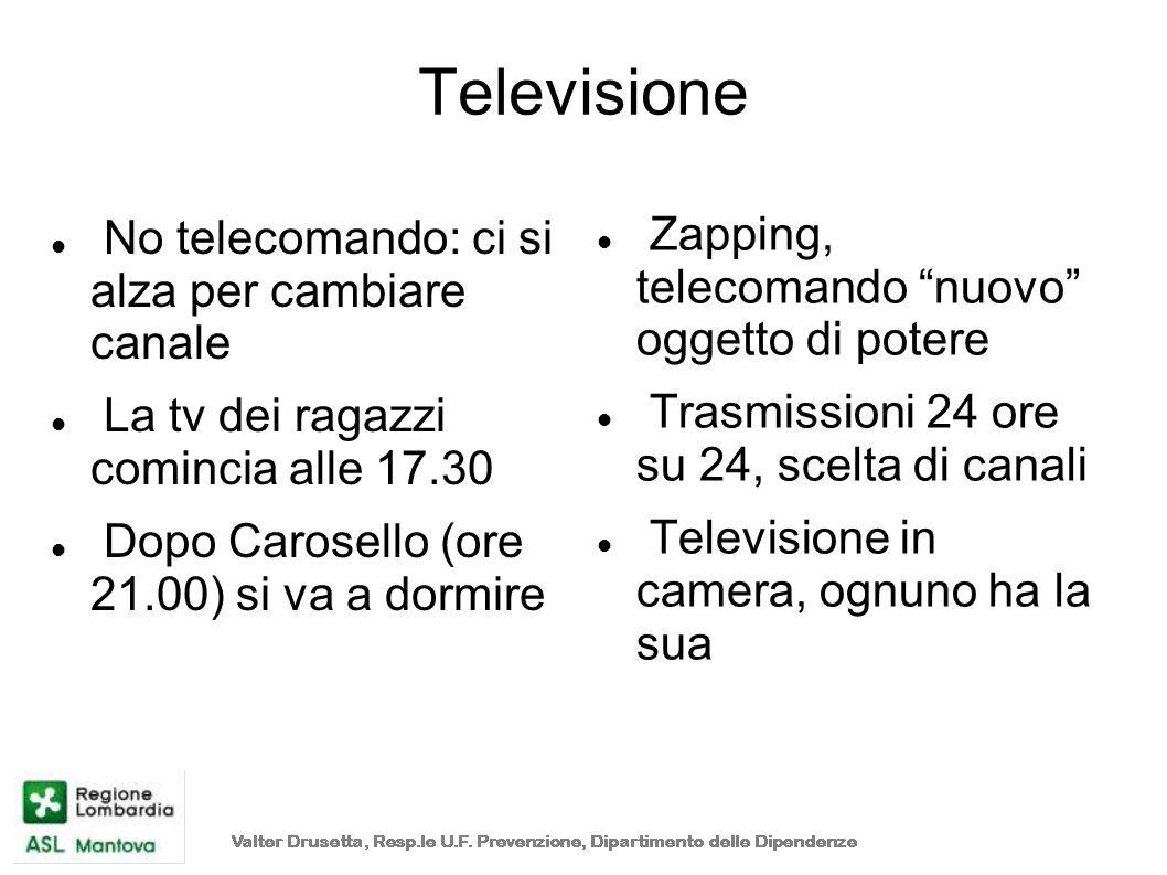 Televisione No telecomando: ci si alza per cambiare canale La tv dei ragazzi comincia alle 17.30 Dopo Carosello (ore 21.00) si va a dormire Zapping, t