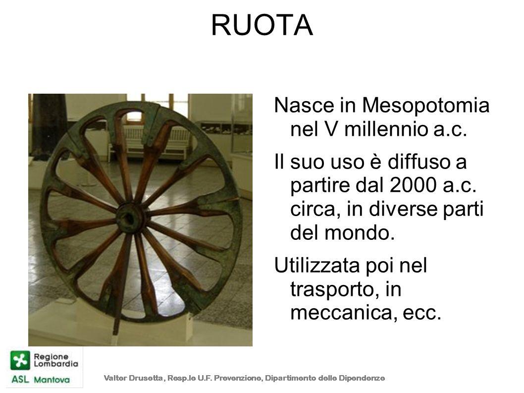RUOTA Nasce in Mesopotomia nel V millennio a.c. Il suo uso è diffuso a partire dal 2000 a.c. circa, in diverse parti del mondo. Utilizzata poi nel tra