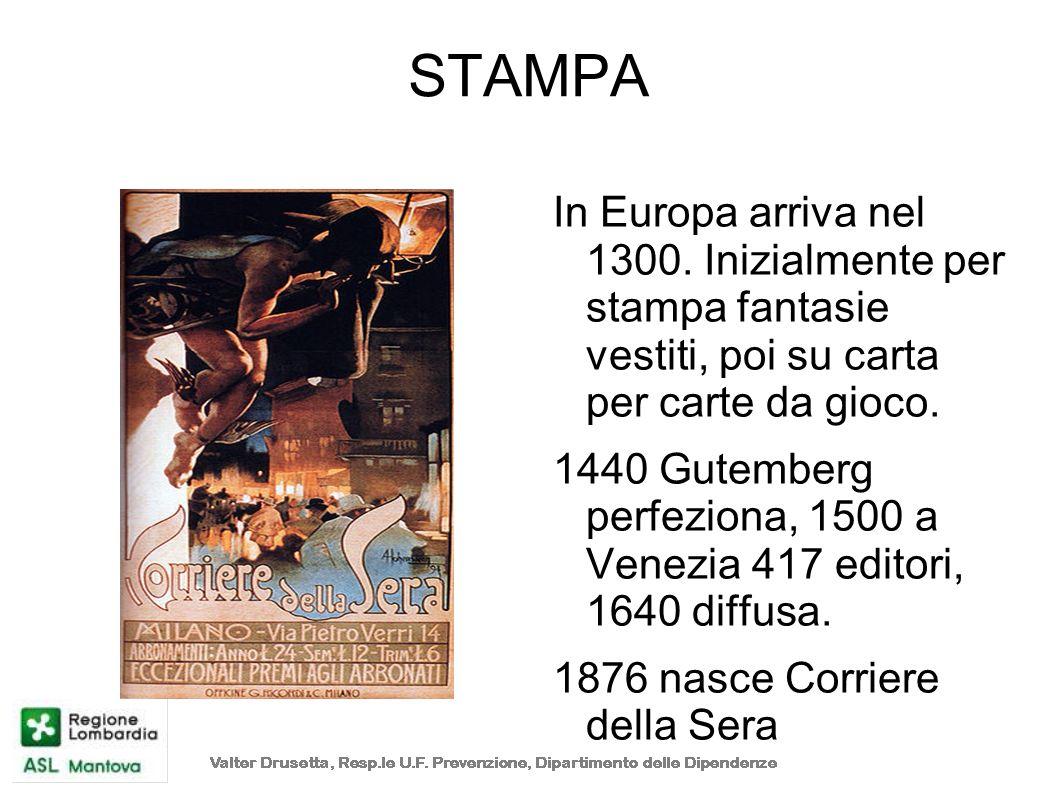 STAMPA In Europa arriva nel 1300. Inizialmente per stampa fantasie vestiti, poi su carta per carte da gioco. 1440 Gutemberg perfeziona, 1500 a Venezia