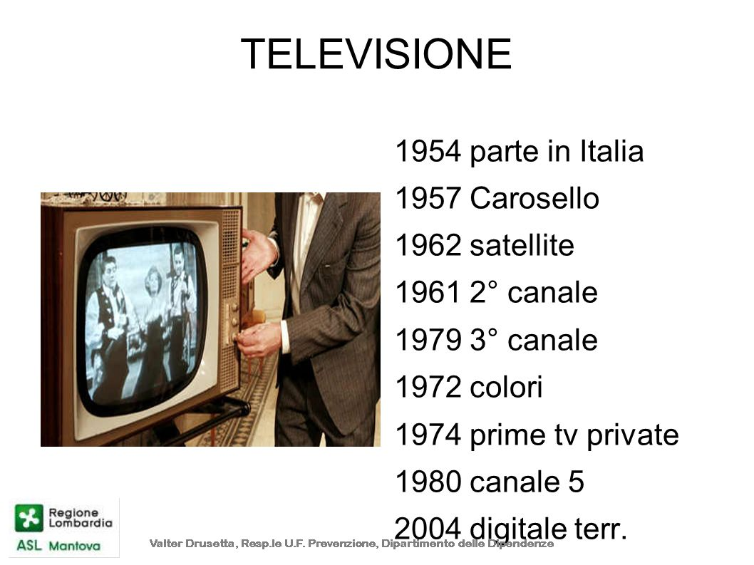 TELEVISIONE 1954 parte in Italia 1957 Carosello 1962 satellite 1961 2° canale 1979 3° canale 1972 colori 1974 prime tv private 1980 canale 5 2004 digi