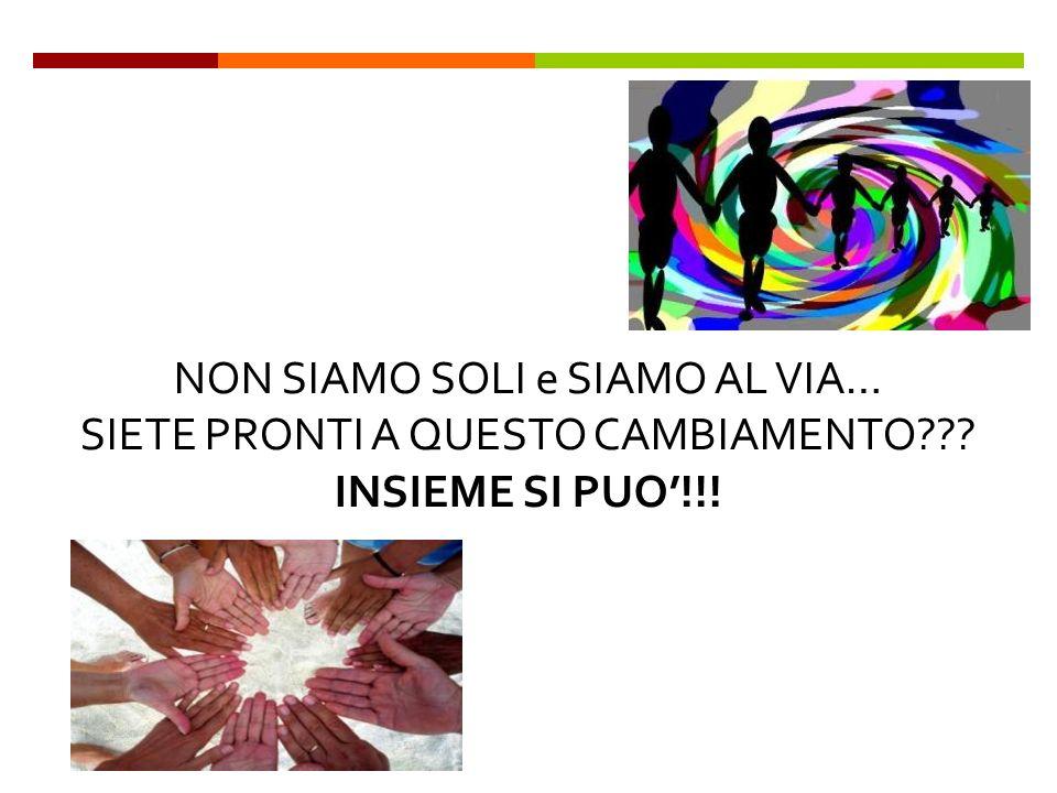 NON SIAMO SOLI e SIAMO AL VIA… SIETE PRONTI A QUESTO CAMBIAMENTO INSIEME SI PUO!!!