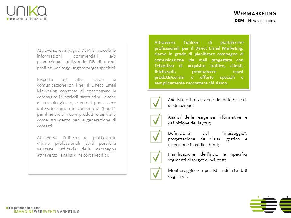 W EBMARKETING DEM - N EWSLETTERING Attraverso campagne DEM si veicolano informazioni commerciali e/o promozionali utilizzando DB di utenti profilati per raggiungere target specifici.