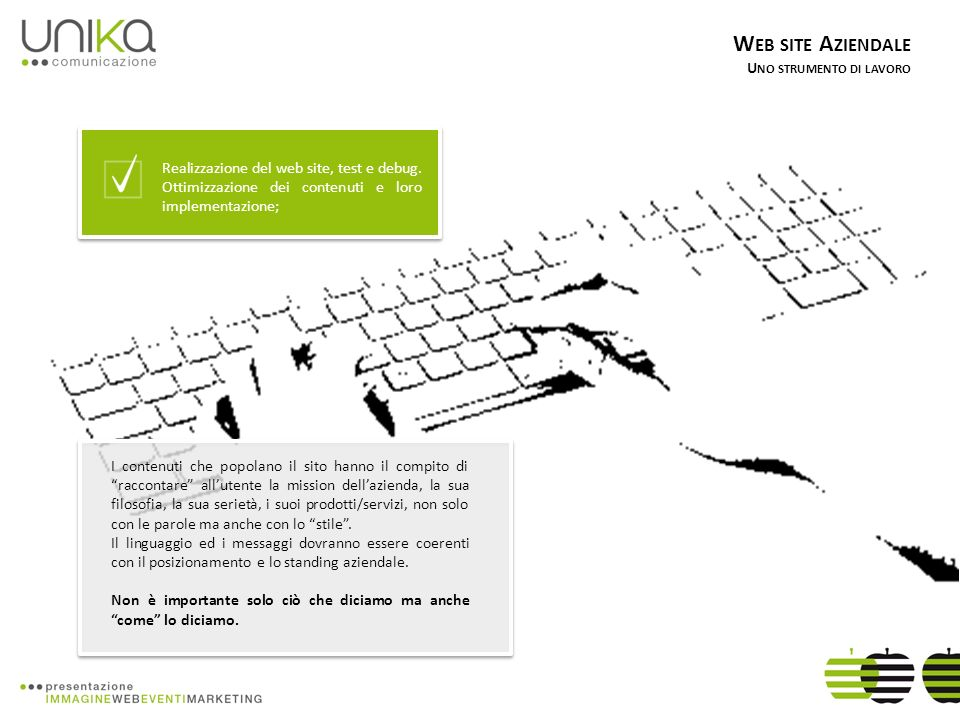 W EB SITE A ZIENDALE U NO STRUMENTO DI LAVORO Pubblicazione online, attivazione degli strumenti di analisi e monitoraggio delle performance; Misurare i risultati di partecipazioni a fiere, campagne pubblicitarie o azioni commerciali.