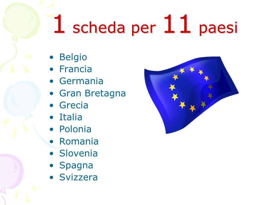 1 scheda per 11 paesi Belgio Francia Germania Gran Bretagna Grecia Italia Polonia Romania Slovenia Spagna Svizzera