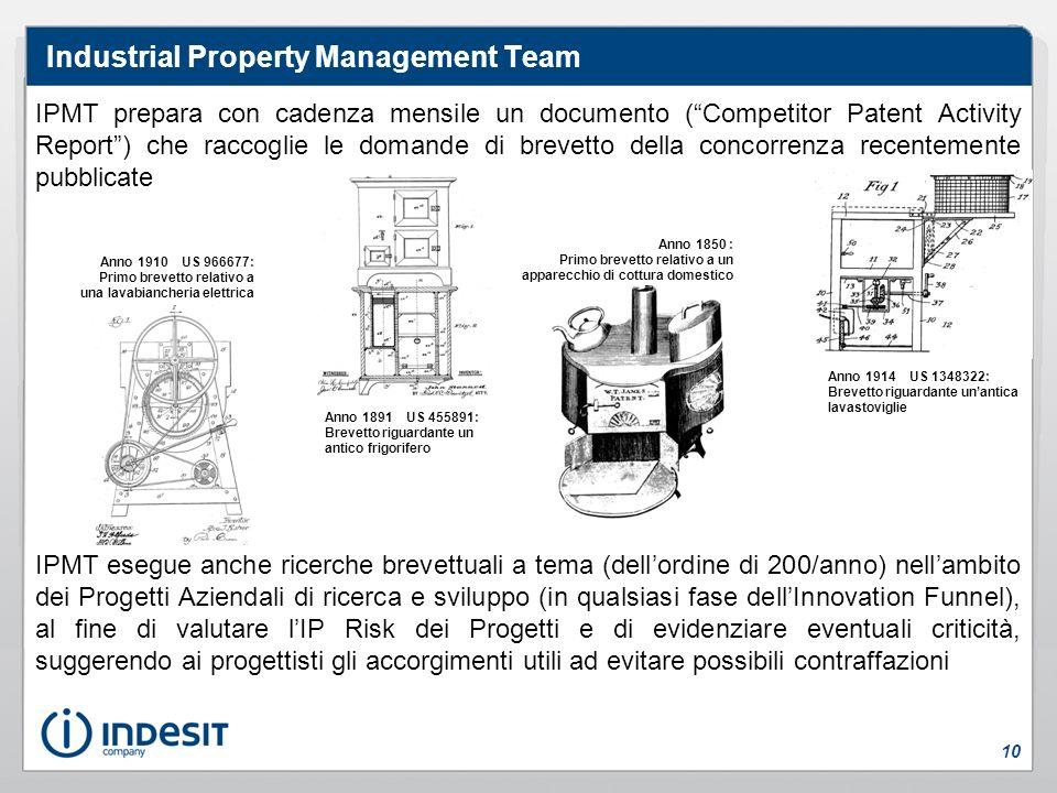 IPMT prepara con cadenza mensile un documento (Competitor Patent Activity Report) che raccoglie le domande di brevetto della concorrenza recentemente
