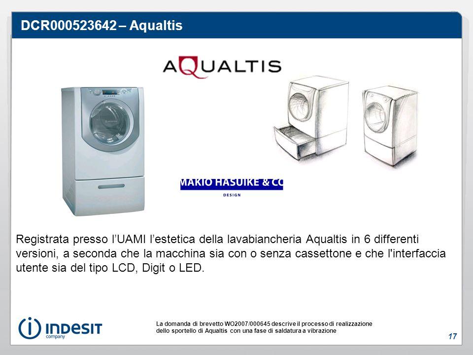 DCR000523642 – Aqualtis Registrata presso lUAMI lestetica della lavabiancheria Aqualtis in 6 differenti versioni, a seconda che la macchina sia con o