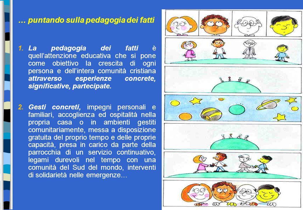 … puntando sulla pedagogia dei fatti 1.La pedagogia dei fatti è quellattenzione educativa che si pone come obiettivo la crescita di ogni persona e del