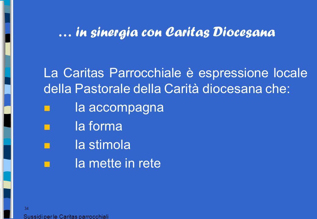 … in sinergia con Caritas Diocesana La Caritas Parrocchiale è espressione locale della Pastorale della Carità diocesana che: n la accompagna n la form