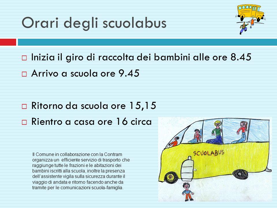 Orari degli scuolabus Inizia il giro di raccolta dei bambini alle ore 8.45 Arrivo a scuola ore 9.45 Ritorno da scuola ore 15,15 Rientro a casa ore 16