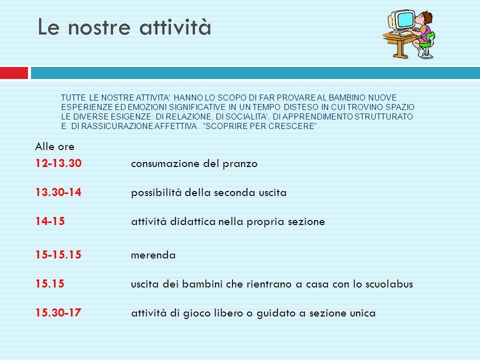 Le nostre attività Alle ore 12-13.30consumazione del pranzo 13.30-14possibilità della seconda uscita 14-15 attività didattica nella propria sezione 15